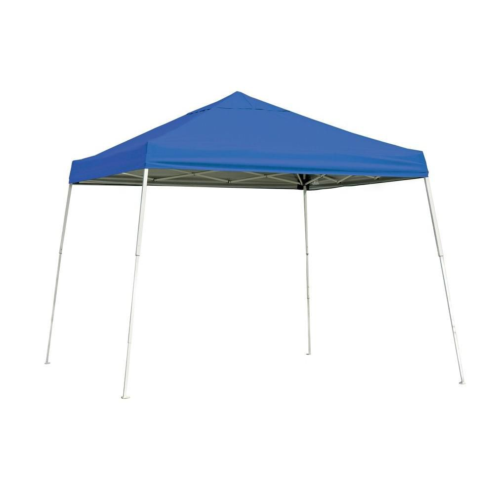 Sport Pop-Up Canopy, 10 x 10, Slant Leg, Blue Cover with Storage Bag