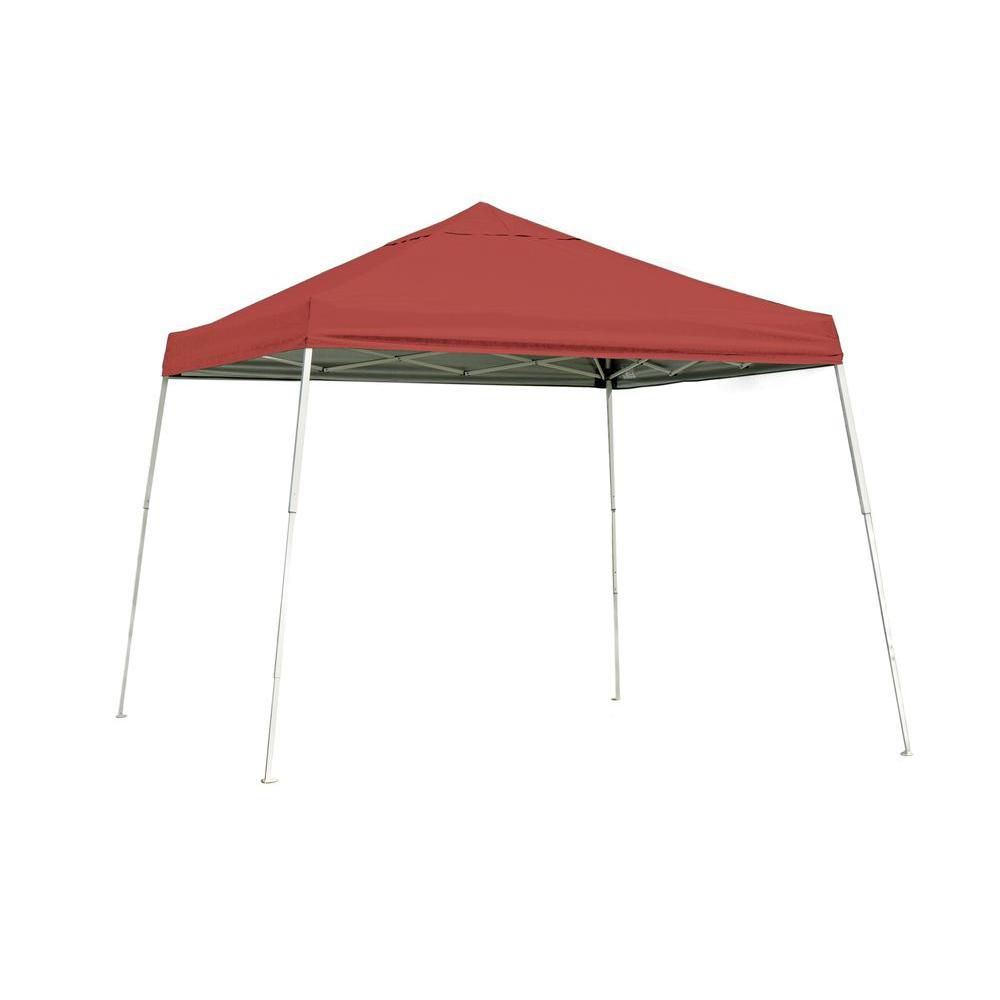 Sport Pop-Up Canopy, 10 x 10, Slant Leg, Red Cover with Storage Bag