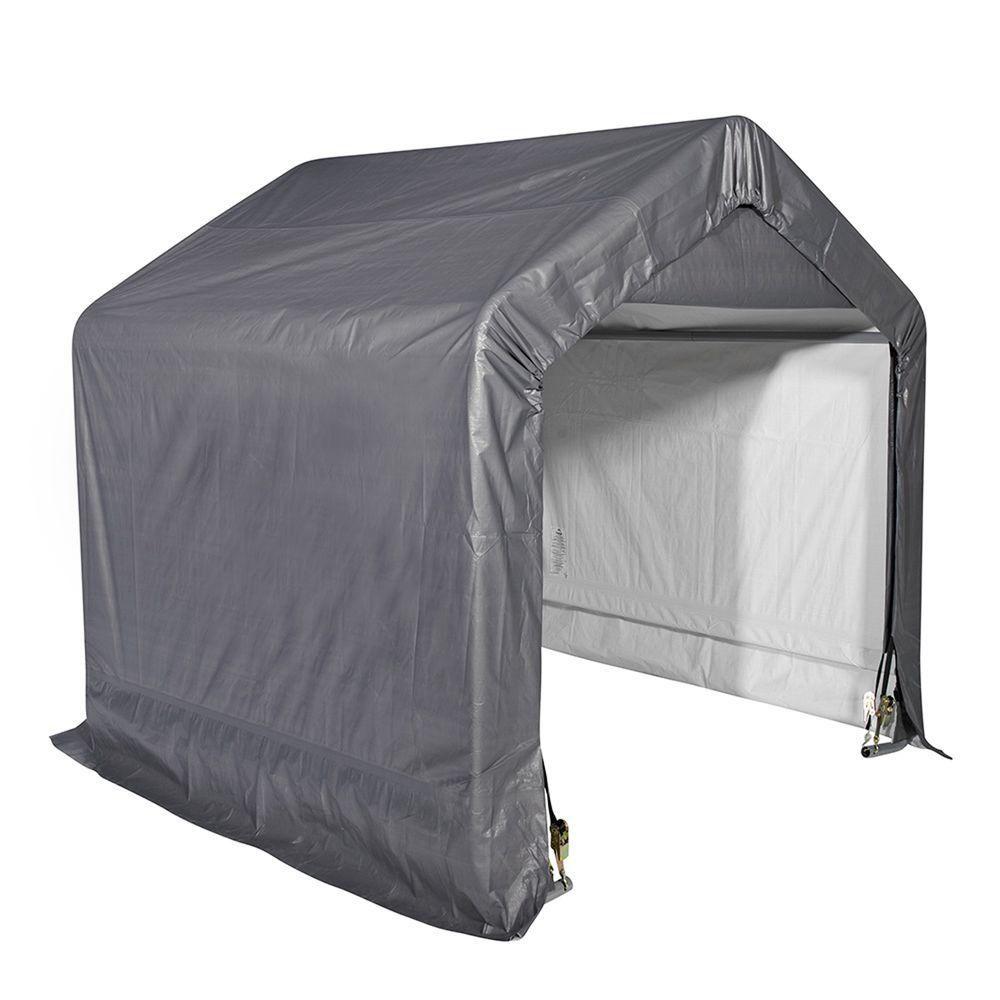 Shed-in-a-Box 6 Feet x 6 Feet x 6 Feet  Peak Style Storage Shed- Grey