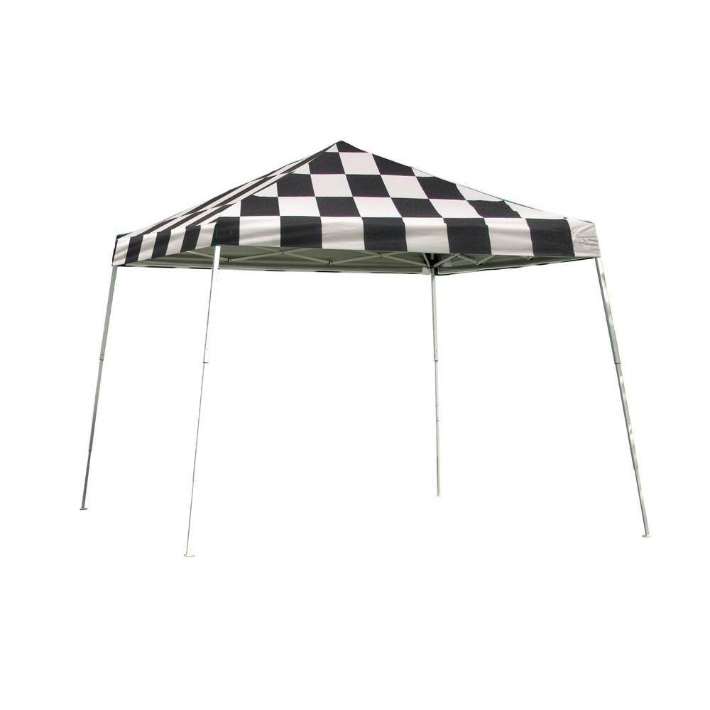 Sport Pop-Up Canopy, 12 x 12, Slant Leg, Checkered Flag Cover with Storage Bag