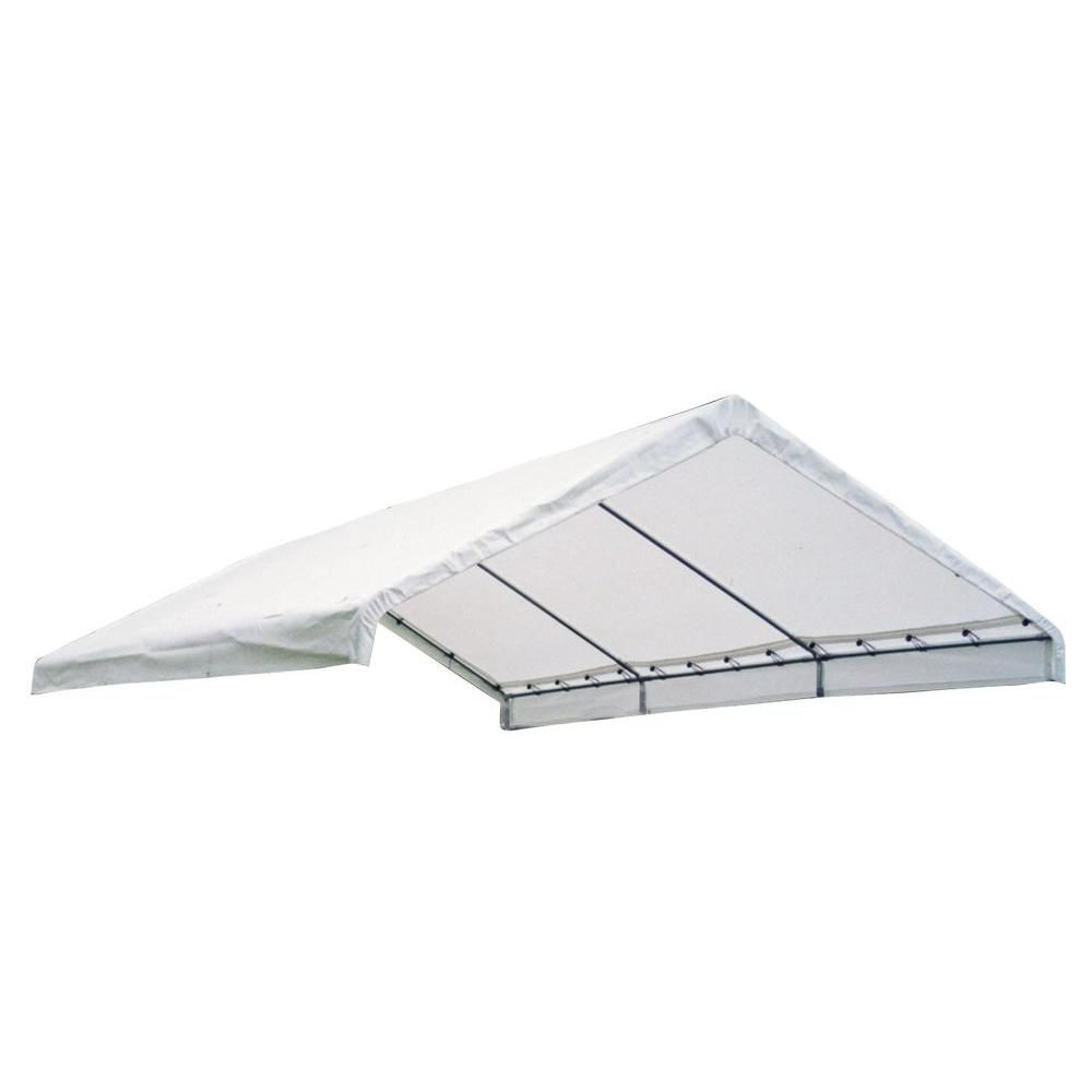 (COUVERT SEULEMENT) Auvent Super Max blanc, 18 x 20 pi Toile de rechange blanche pour auvent à ar...