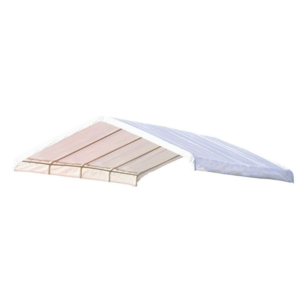 (COUVERT SEULEMENT) Auvent  blanc, 12 x 26 pi Toile de rechange blanche pour auvent à armature de...
