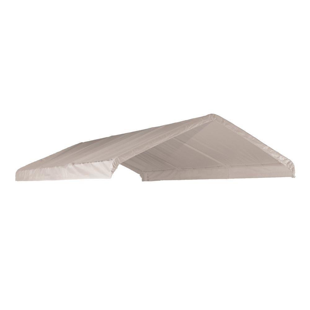 (COUVERT SEULEMENT) Auvent  blanc, 12 x 20 pi Toile de rechange blanche pour auvent à armature de...