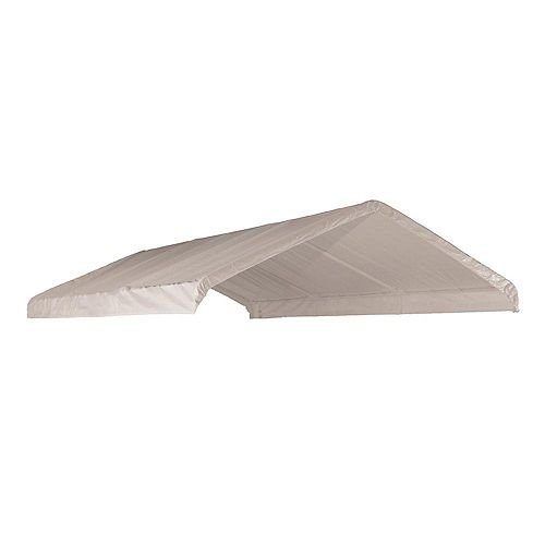 ShelterLogic (COUVERT SEULEMENT) Auvent  blanc, 12 x 20 pi Toile de rechange blanche pour auvent à armature de 2 po