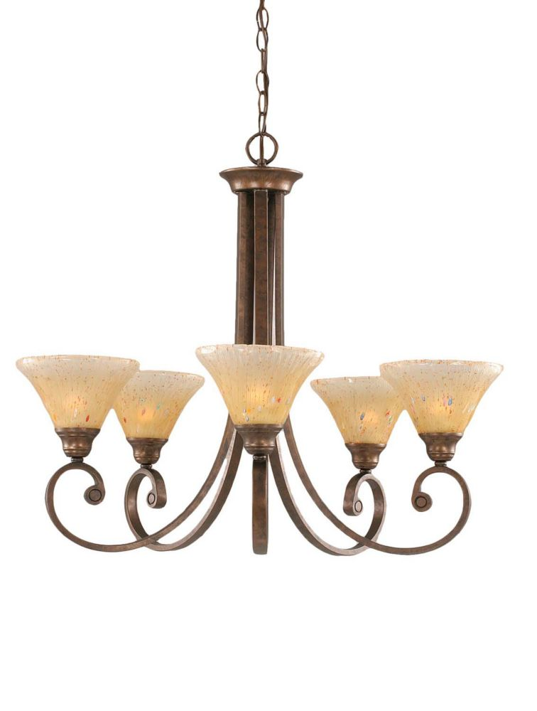 Concord 5 Light Ceiling Bronze Incandescent Chandelier with an Amber Glass