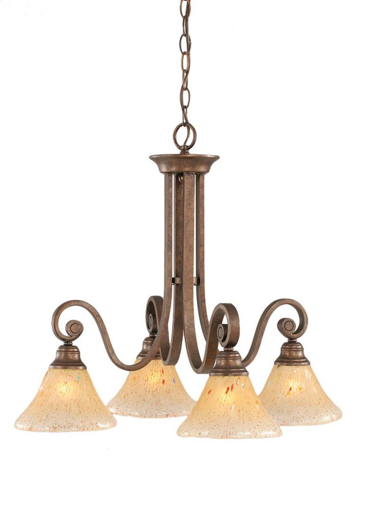 Concord 4-Light Ceiling Bronze Chandelier with an Amber Glass