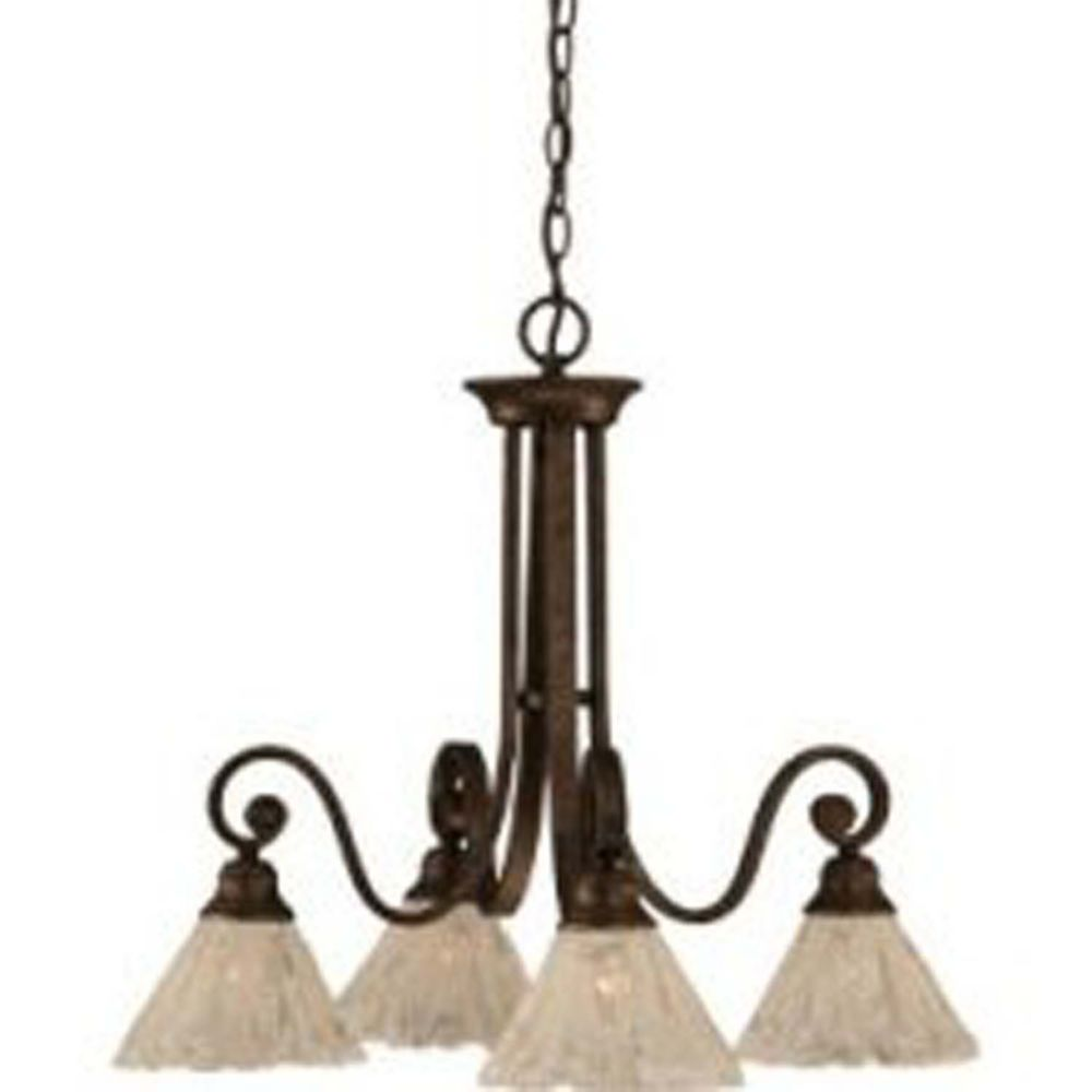Concord 4-Light Ceiling Bronze Chandelier with a Clear Crystal Glass