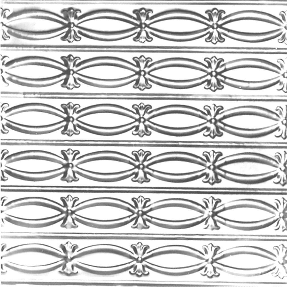 2 Feet x 4 Feet Chrome Plated Steel Nail-Up Ceiling Tile Beaded Plate
