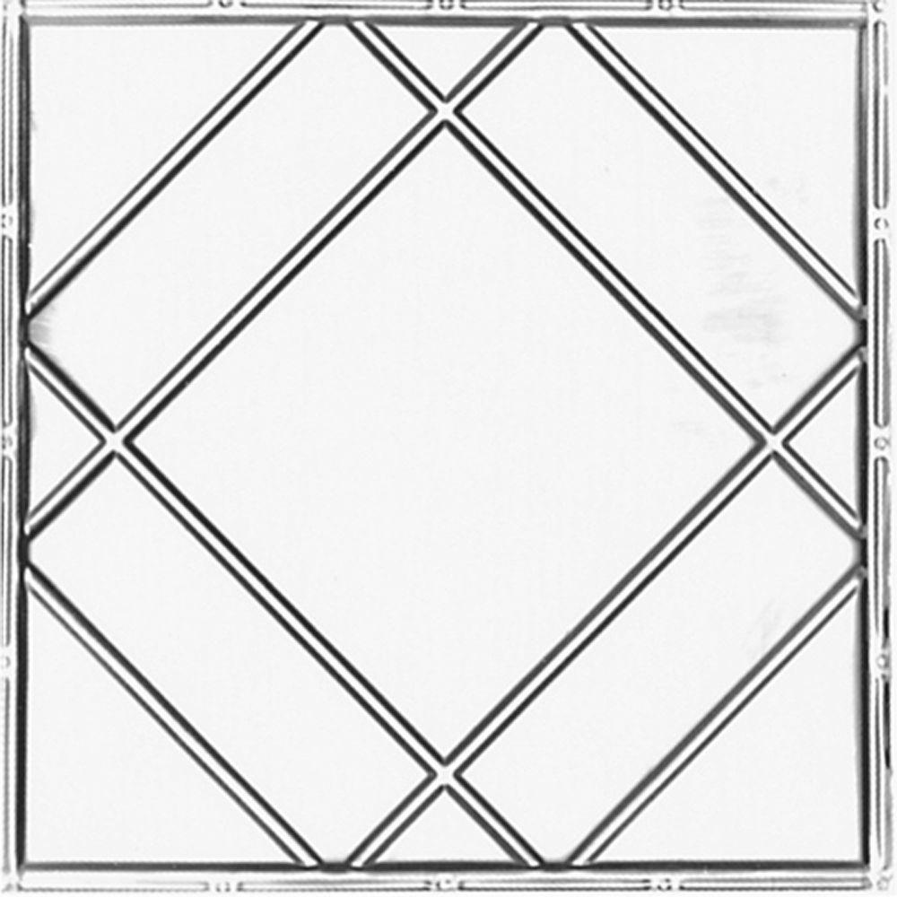 Carreau de plafond en acier argenté à motif répété aux 24 pouces et installation clouée 2 pi x 4 ...