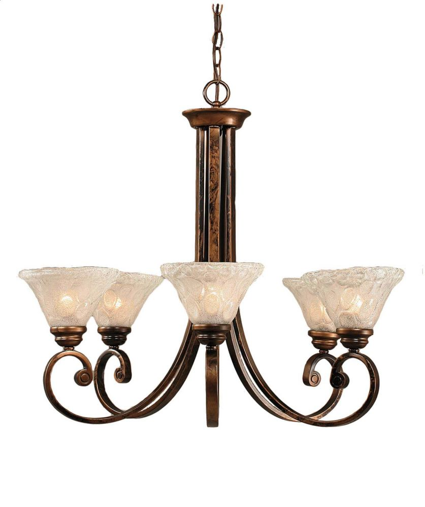 Concord 5-Light Ceiling Bronze Chandelier with a Clear Crystal Glass