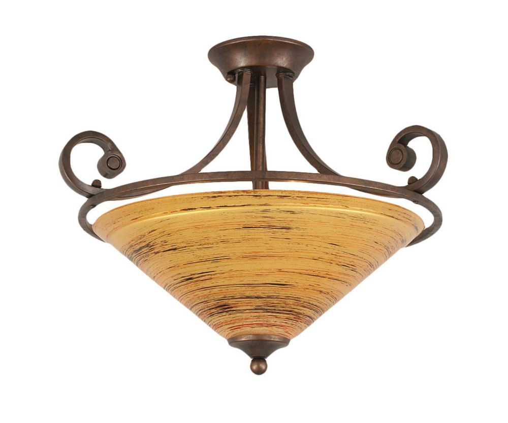 Concord 3-Light Ceiling Bronze Semi Flush with a Firré Saturn Glass