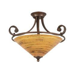 Filament Design Concord 3-Light Ceiling Bronze Semi Flush with a Firré Saturn Glass