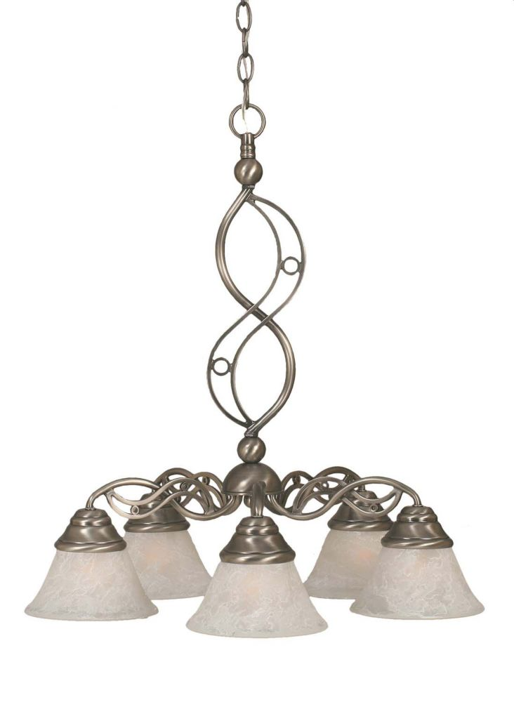Concord 5 Light Ceiling Brushed Nickel Incandescent Chandelier with a White Marble Glass
