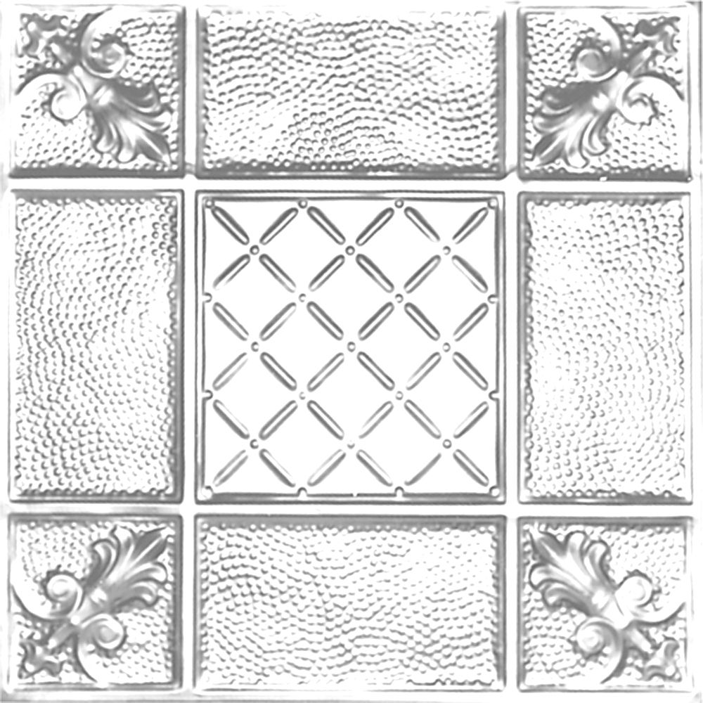 2 Feet x 2 Feet Chrome Plated Steel Finish Lay-In Ceiling Tile  Design Repeat Every 24 Inches