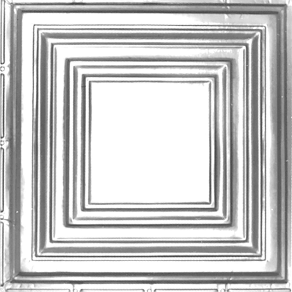 Carreau de plafond en acier plaqué chrome à motif répété aux 24 pouces et installation clouée 2p...