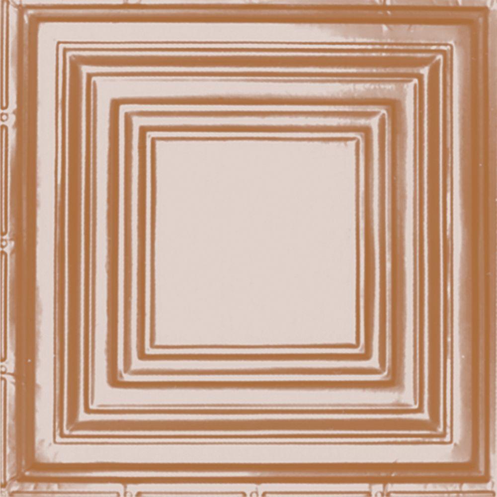 Carreau de plafond en acier plaqué cuivre à motif répété aux 24 pouces et installation clouée 2p...