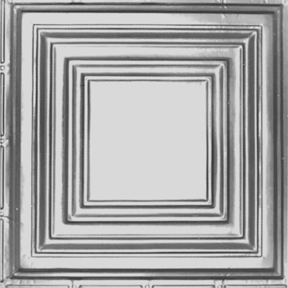 Carreau de plafond en acier laqué à motif répété aux 24 pouces et installation clouée 2 pi x 4 pi