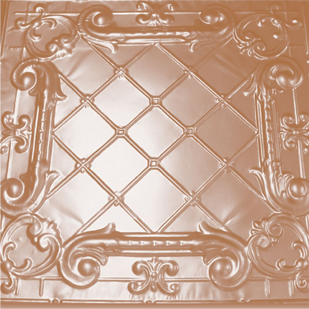 2 Feet x 2 Feet Copper Plated Steel Finish Lay-In Ceiling Tile  Design Repeat Every 24 Inches