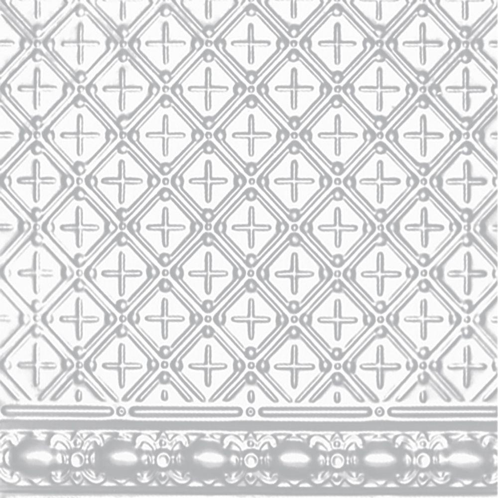 Plaque murale moulurée en acier blanchi pour installation clouée, 2 pi x 4 pi avec moulure de 4 p...