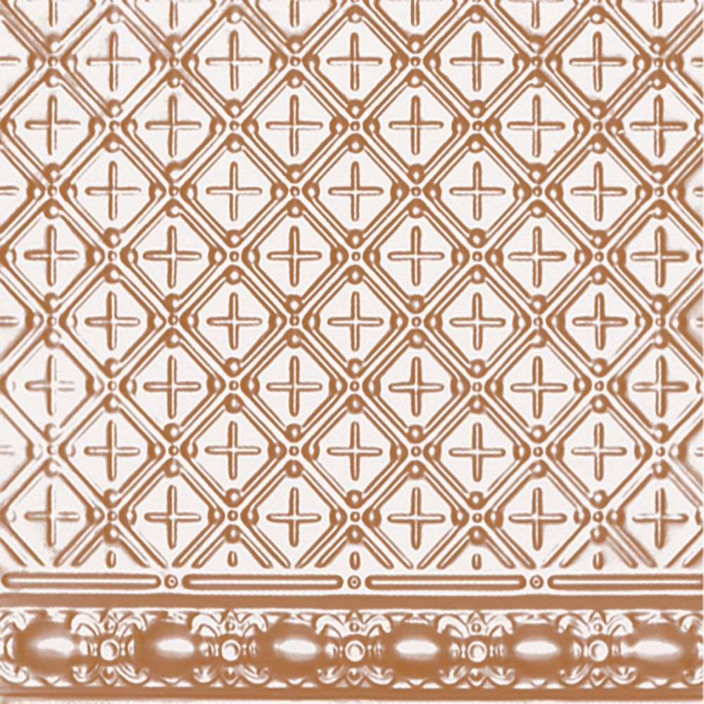 Plaque murale moulurée en acier plaqué cuivre pour installation clouée, 2 pi x 4 pi avec moulure ...