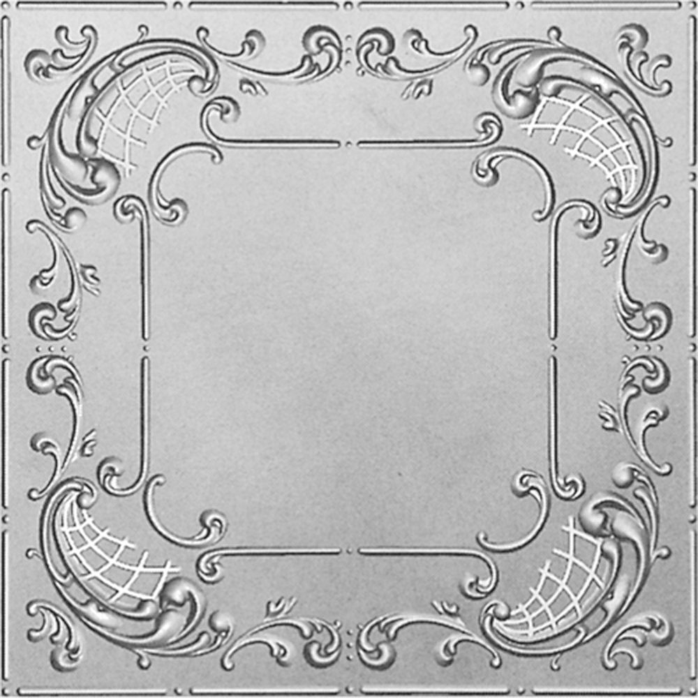 2Feet X 2Feet Steel Silver Lay-In Ceiling Tile  Design Repeat Every 24 Inches