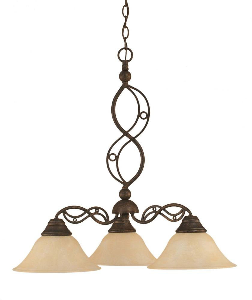 Concord 3 Light Ceiling Bronze Incandescent Chandelier with an Amber Glass
