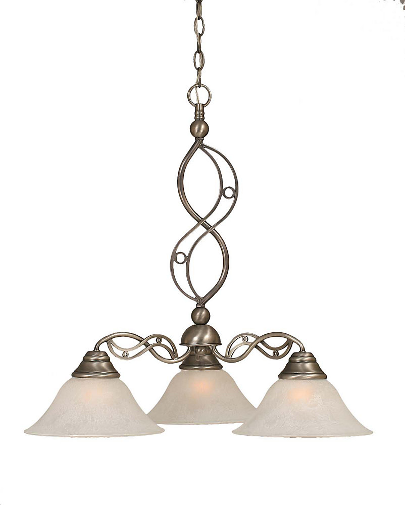 Concord 3-Light Ceiling Brushed Nickel Chandelier with a White Glass