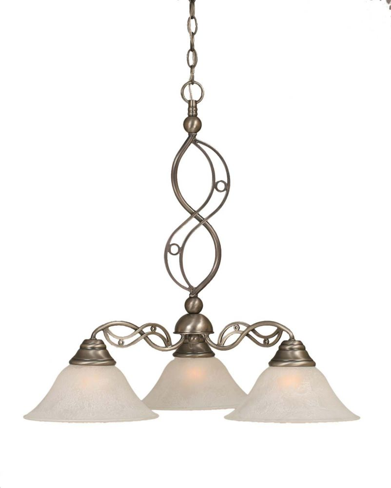 Filament Design Concord 3-Light Ceiling Brushed Nickel Chandelier with a White Glass