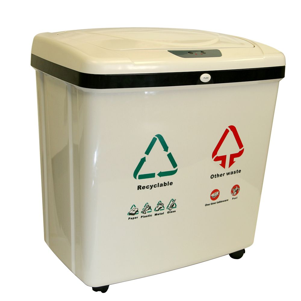 16 Gallon Dual-Compartment Automatic Sensor Touchless Recycle Bin/Trash Can