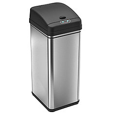 49L Stainless Steel Trash Can with Automatic Touch-Free Sensor and Deodorizing Carbon Filter