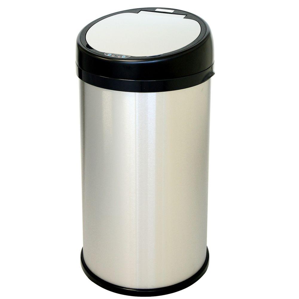 Poubelle sans contact avec détecteur en acier inoxydable de 13 gallons et ouverture extra large e...