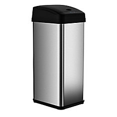 49.2 L Stainless Steel Square Extra-Wide Lid Opening Motion Sensing Touchless Trash Can