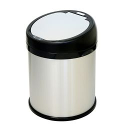 iTouchless 8 Gallon Round Extra-Wide opening Stainless Steel Automatic Sensor Touchless Trash Can