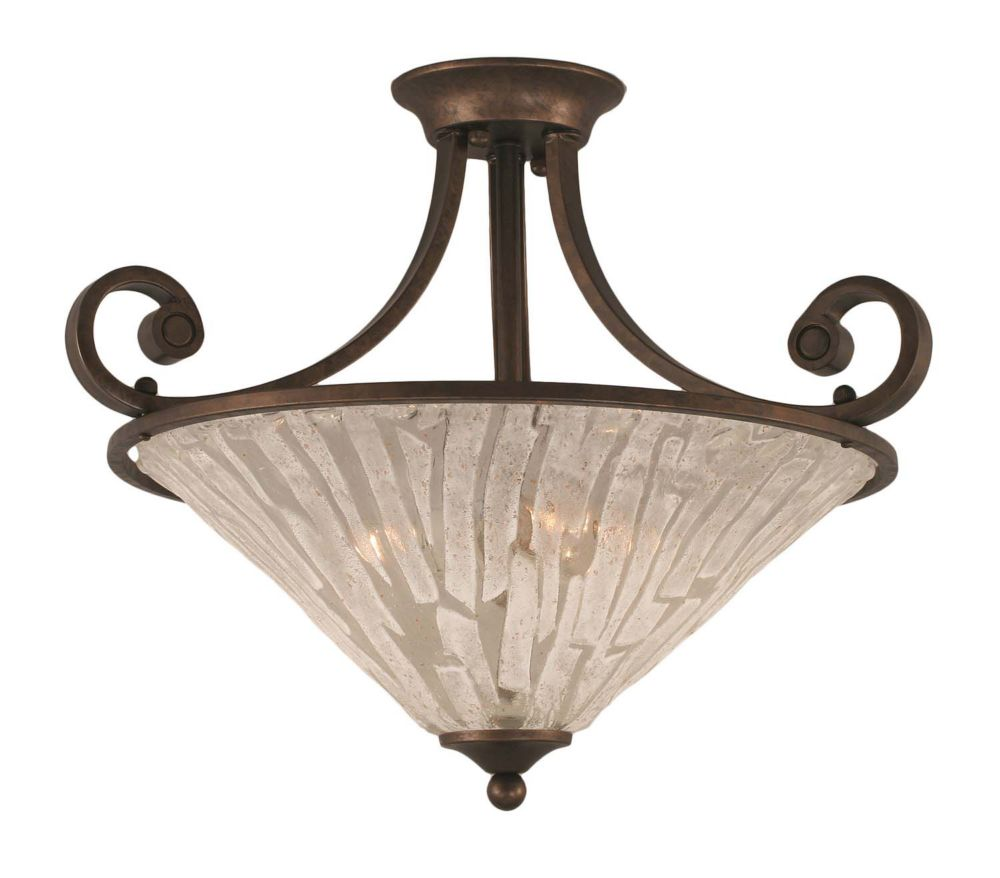 Concord 3-Light Ceiling Bronze Semi Flush with a Clear Crystal Glass