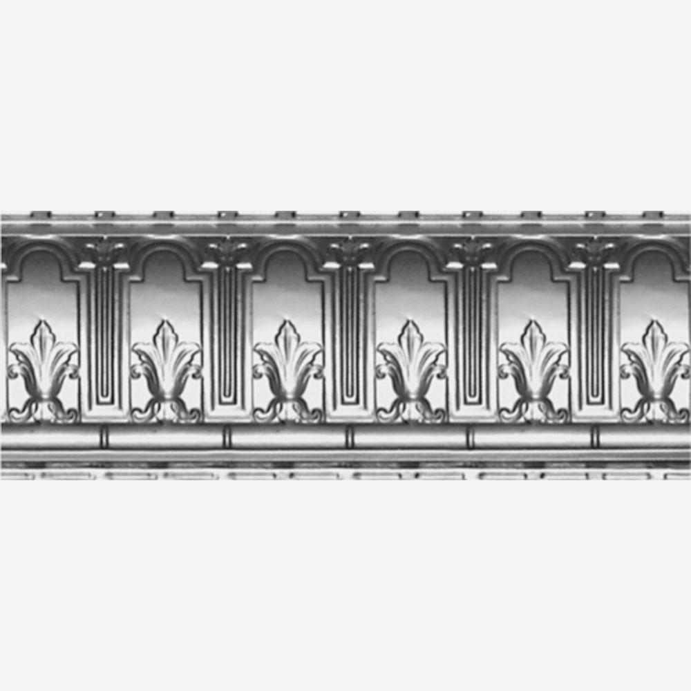 Corniche en acier argenté, 9,5 po en saillie x 9,5 po profondeur x 4pi longueur