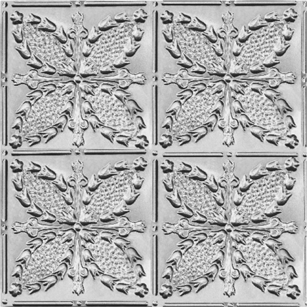 2Feet X 4Feet Steel Silver Nail-Up Ceiling Tile Design Repeat Every 12 Inches