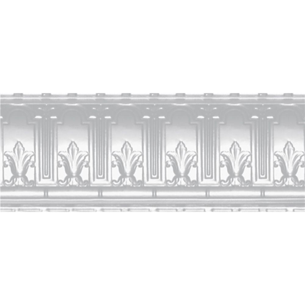 Corniche en acier blanchi, 9,5 po en saillie x 9,5 po profondeur x 4pi longueur