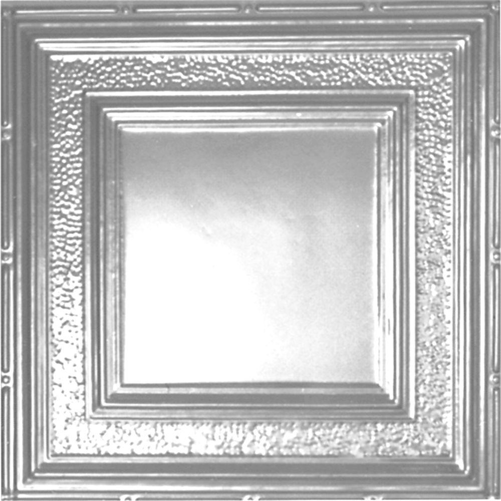 Carreau de plafond en acier plaqué chrome à motif répété aux 24 pouces et installation encastrée ...