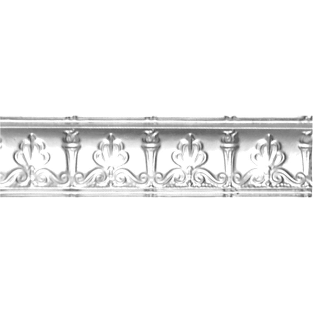 Corniche en acier plaqué chrome, 4 po en saillie x 4 po profondeur x 4pi longueur