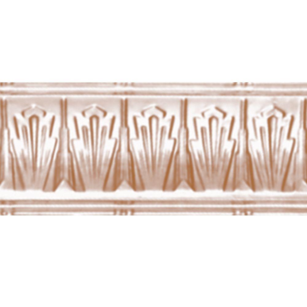 Corniche en acier plaqué cuivre, 4 po en saillie x 4 po profondeur x 4 pi longueur