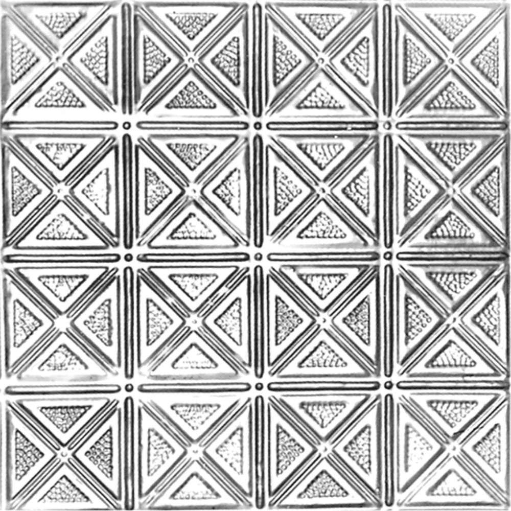 Carreau de plafond en acier argenté à motif répété aux 6 pouces et installation clouée 2 pi x 4 p...