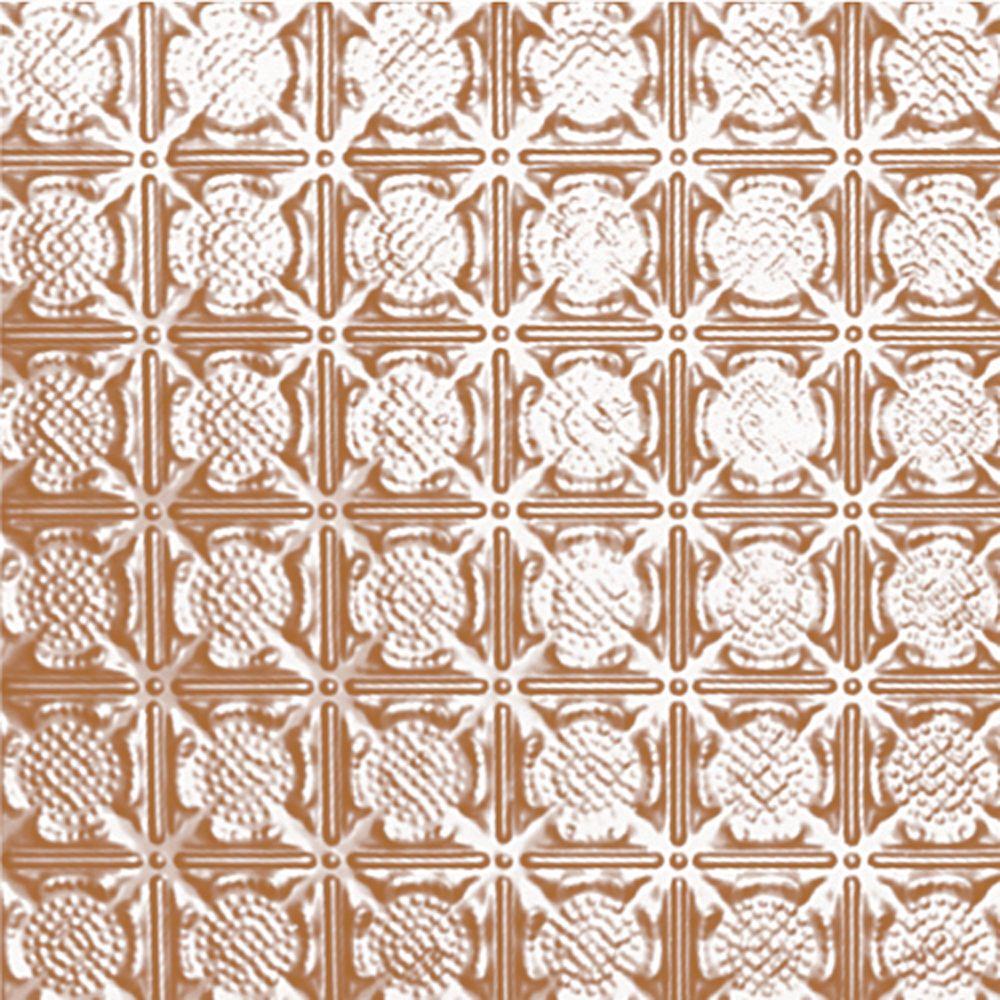 Carreau de plafond en acier plaqué cuivre à motif répété aux 3 pouces et installation clouée 2pi...