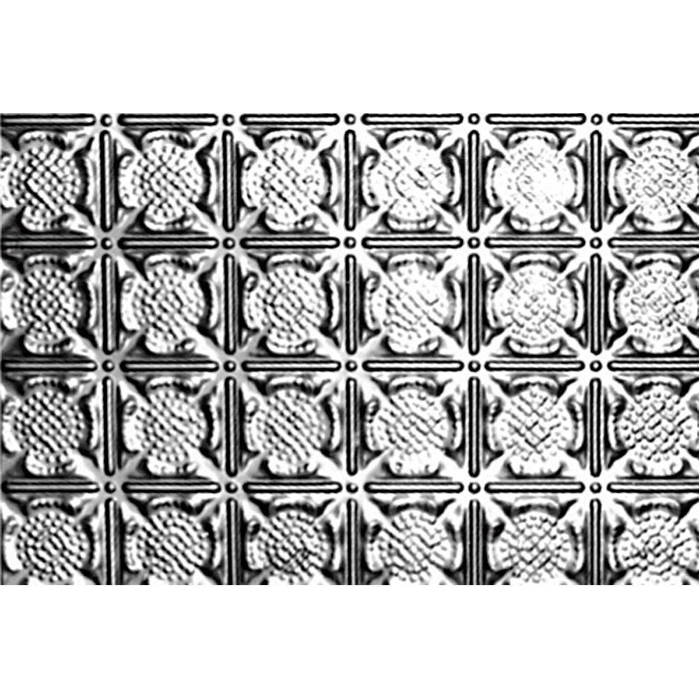 Carreau de plafond en acier inoxydable à motif répété aux 3 pouces et installation clouée 18,5po...