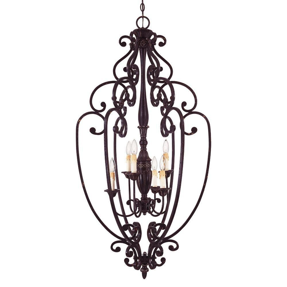 Satin 6-Light Bronze Pendant