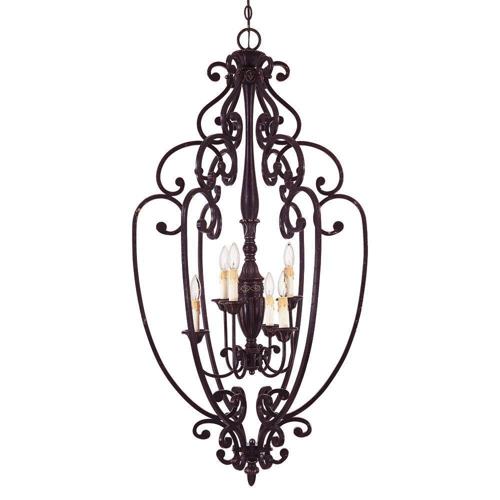 Satin 6 Light Bronze Incandescent Pendant