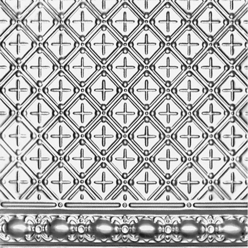 Plaque murale moulurée en acier argenté pour installation clouée, 2 pi x 4 pi avec moulure de 4 p...
