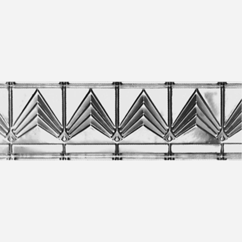 Corniche en acier argenté, 6 po en saillie x 6 po profondeur x 4pi longueur