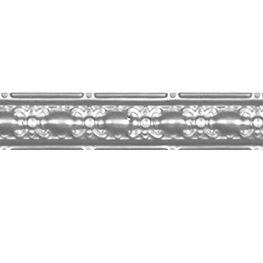 Corniche en acier plaqué chrome, 4 po en saillie x 4pi longueur