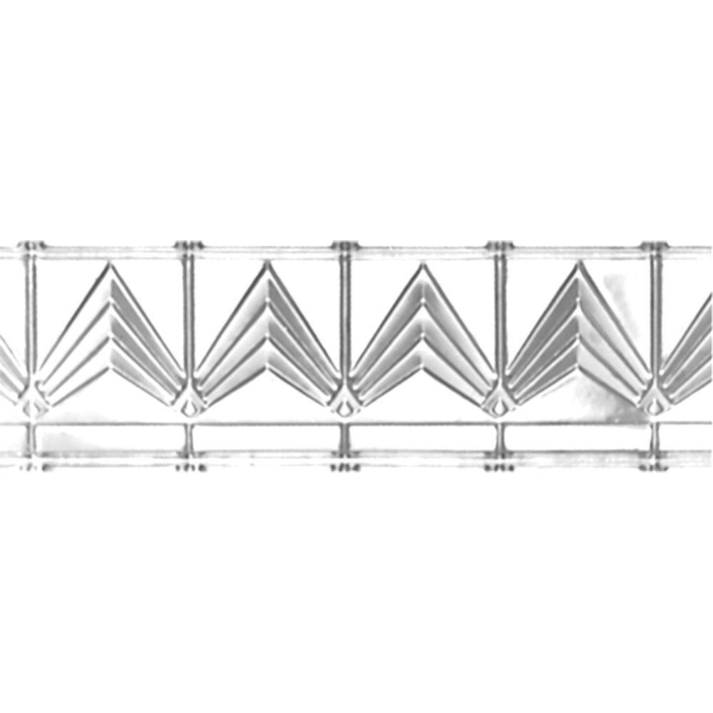 Corniche en acier plaqué chrome, 6 po en saillie x 6 po profondeur x 4pi longueur