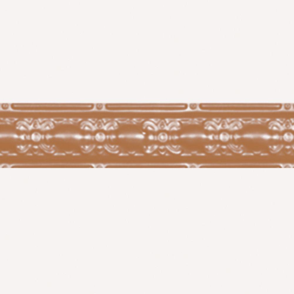 Corniche en acier plaqué cuivre, 4 po en saillie x 4pi longueur